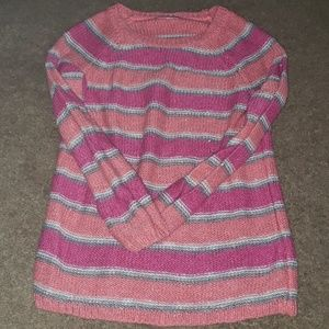 Justice pink striped sweater sz 8